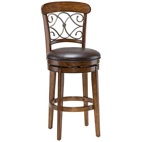 "Hillsdale Bergamo 30"" Brown Cherry Swivel Bar Stool"