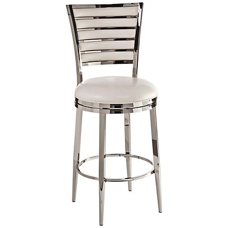 "Hillsdale Rouen Shiny Nickel 30"" Swivel Bar Stool"