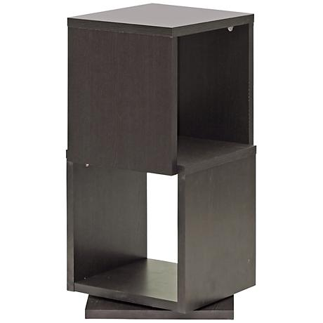 Ogden Dark Brown 2-Level Rotating Modern Bookshelf