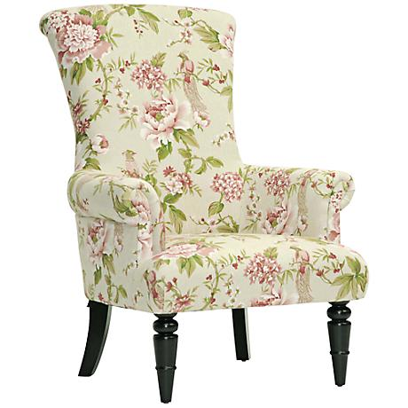 Kimmet Beige and Pink Linen Floral Accent Chair