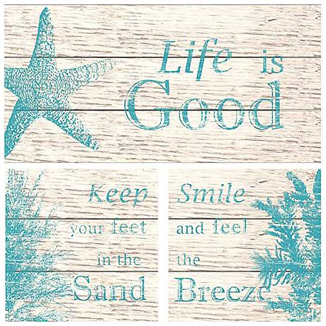 "Set of 3 Life is Good 14"" Wide Rustic Coastal Wall Art"