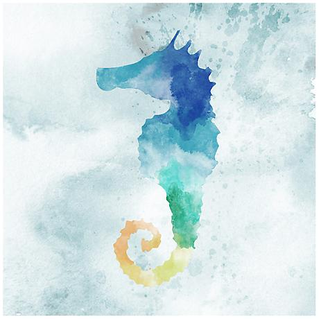 "Watercolor Seahorse 12"" Square Canvas Giclee Wall Art"