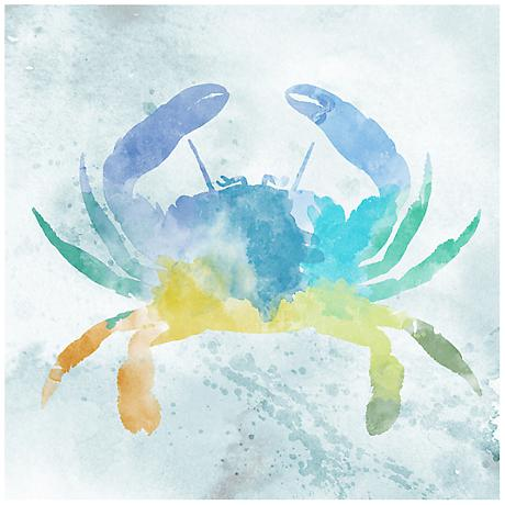 "Watercolor Crab 12"" Square Canvas Giclee Wall Art"