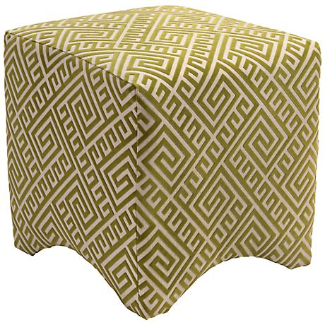 Marisa Green Graphic Greek Key Ottoman