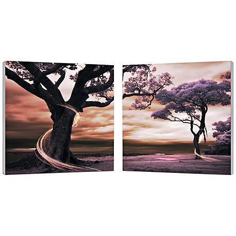 "Set of 2 Lilac Enchantment 19 3/4"" Square Canvas Wall Art"