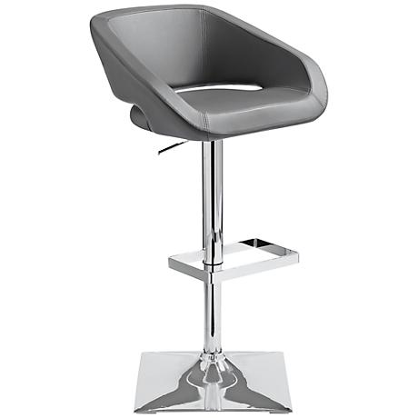 Gustavo Chrome and Gray Adjustable Barstool