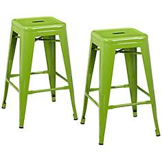 Lago Set of 2 Green Steel Counter Stools