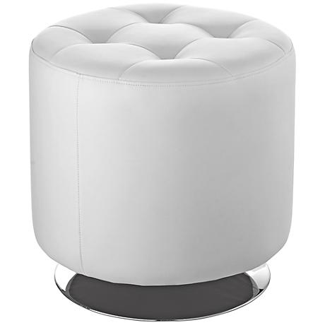 Domani Small Eggshell White Swivel Ottoman