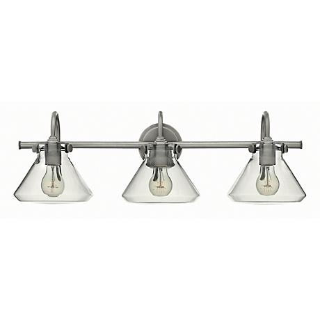"Congress 29 1/2""W Clear Glass Antique Nickel Bath Light"