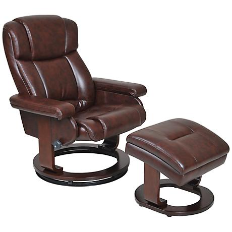 Serta Biscuit Cherry Recliner and Storage Ottoman