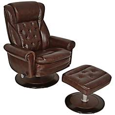 Serta Button Tufted Coffee Bean Recliner and Ottoman