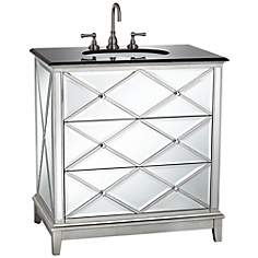 Criss Cross Mirrored Single Sink Vanity