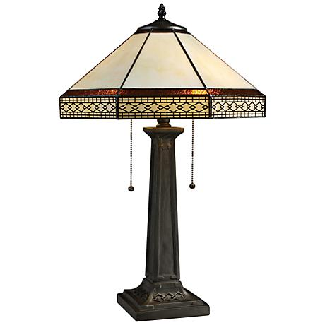 Stone Tiffany Style Bronze 2-Light Table Lamp