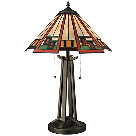 Carlos Glass and Bronze Tiffany Style Table Lamp