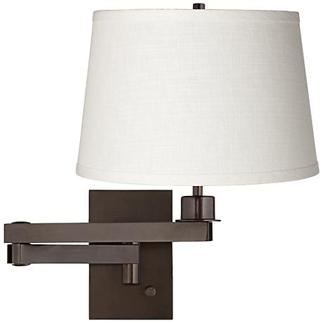 white linen shade bronze plug in swing arm wall lamp. Black Bedroom Furniture Sets. Home Design Ideas