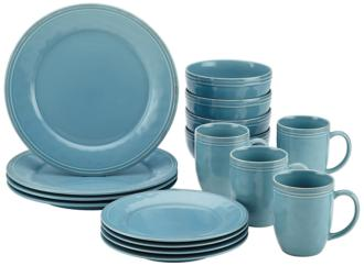 Rachael Ray Cucina 16-Piece Agave Blue Dinnerware Set (5D733) 5D733