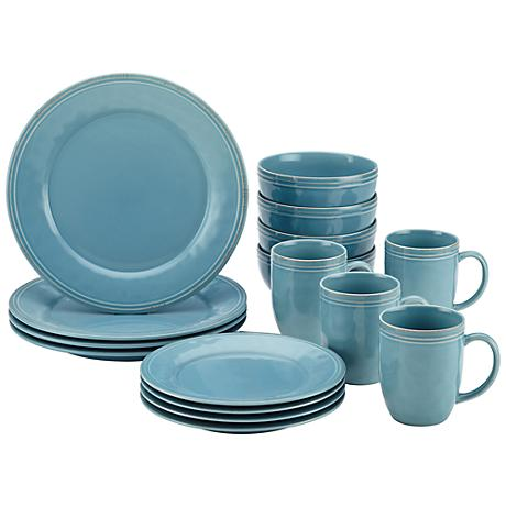 Rachael Ray Cucina 16-Piece Agave Blue Dinnerware Set