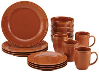 Rachael Ray Cucina 16-Piece Pumpkin Orange Dinnerware Set (5D739) 5D739