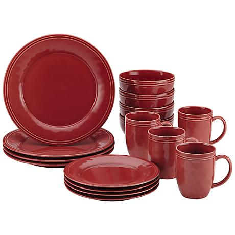 Rachael Ray Cucina 16-Piece Cranberry Red Dinnerware Set