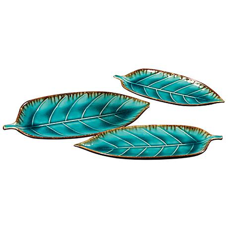Howard Elliott Set of 3 Deep Sea Blue Leaf Plates