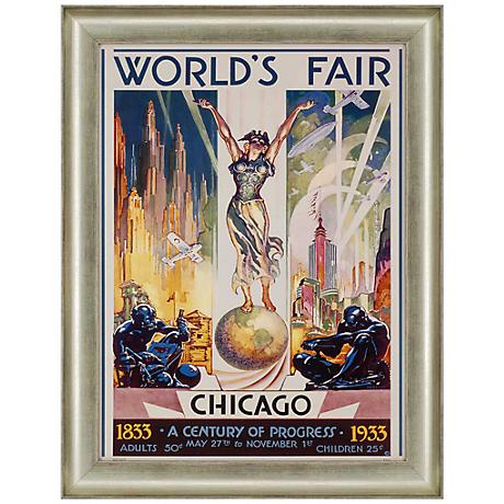 "Chicago World's Fair 1933 36"" High Framed Wall Art"