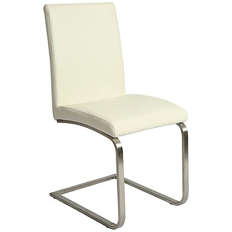 Monaco White Ivory Faux Leather Side Chair