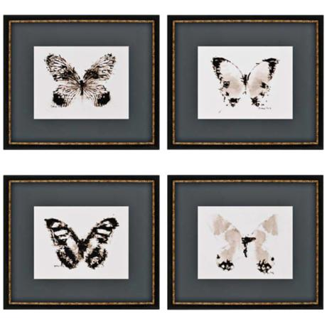"Set of 4 Inked Butterflies 21"" Wide Contemporary Wall Art"