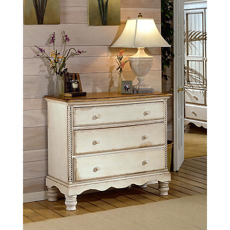 Hillsdale Wilshire Antique White 3-Drawer Bedside Chest