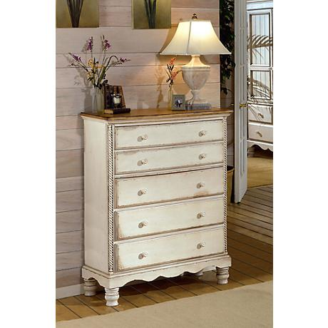 Hillsdale Wilshire Antique White 5-Drawer Chest