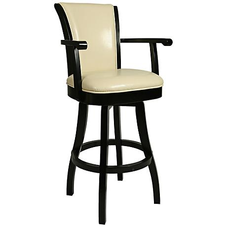 "Glenwood Swivel 30"" Cream Faux Leather Swivel Barstool"