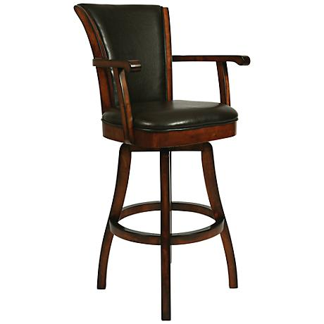 "Impacterra Glenwood Swivel 30"" Brown Faux Leather Barstool"