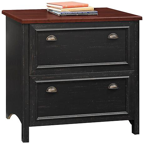 Stanford Two-Tone Antique Black Lateral File Cabinet