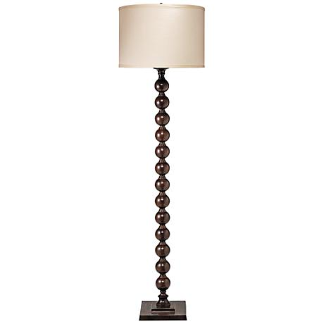Jamie Young Luna Stone Linen Chocolate Metal Floor Lamp