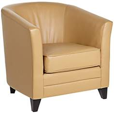 Chasen Straw Bonded Leather Club Chair