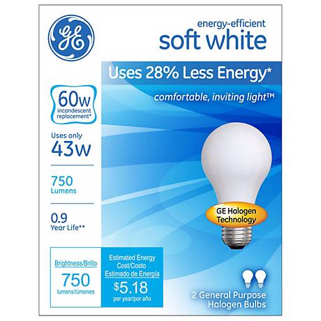 GE 43 Watt 2-Pack Soft White Halogen Light Bulbs