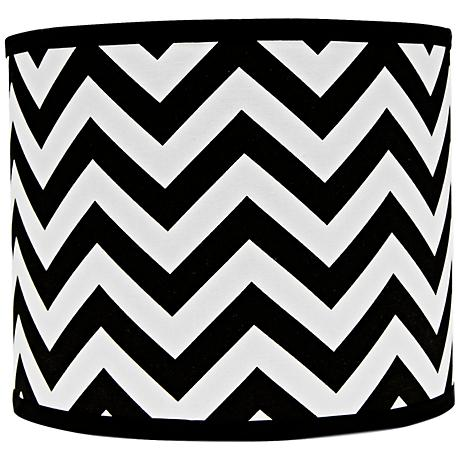Black and White Chevron Drum Lamp Shade 14x14x11 (Spider)