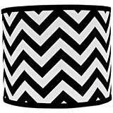 Black and White Chevron Drum Lamp Shade 16x16x13 (Spider)