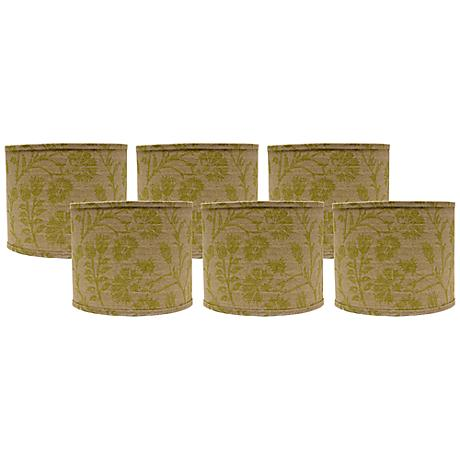 Set of 6 Muted Green Floral Lamp Shades 5x5x4.5 (Clip-On)