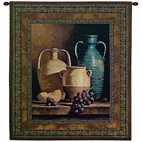 "Jars On A Ledge 53"" High Wall Tapestry"