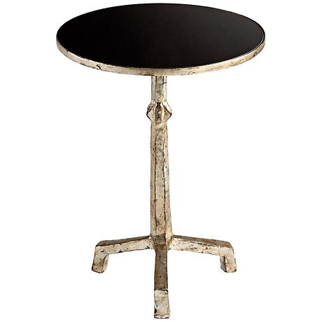 Night Shift Rustic Silver Accent Table with Black Glass