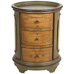 Autumn 3-Drawer Oval Tuscan Green Accent Chest
