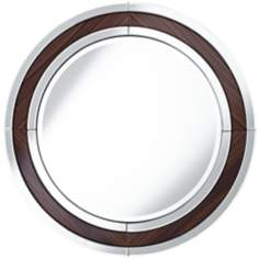 "Wecker Wood Grain 33 1/2"" Round Wall Mirror"