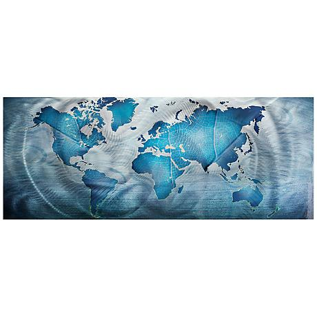 "Land and Sea 48"" Wide Map Modern Metal Wall Art"