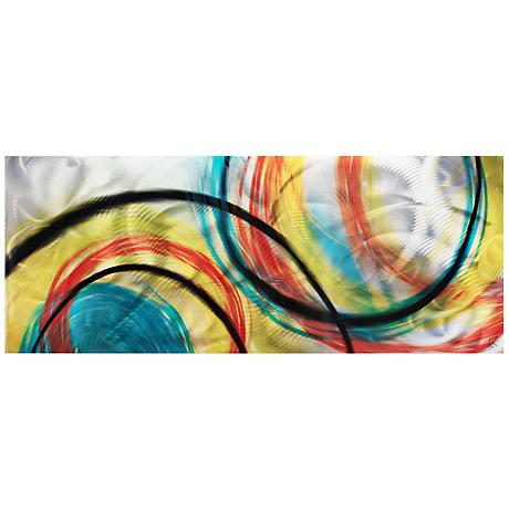 "Rainbow Seasons 48"" Wide Landscape Metal Wall Art"