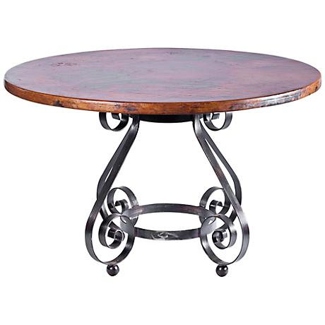 "Marseille Hammered Copper 48"" Round Dining Table"