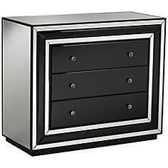 Damon Black Glass 3-Drawer Accent Chest