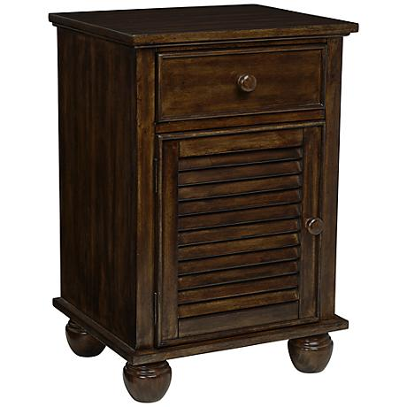 Nantucket Louvered Door Walnut Accent Table