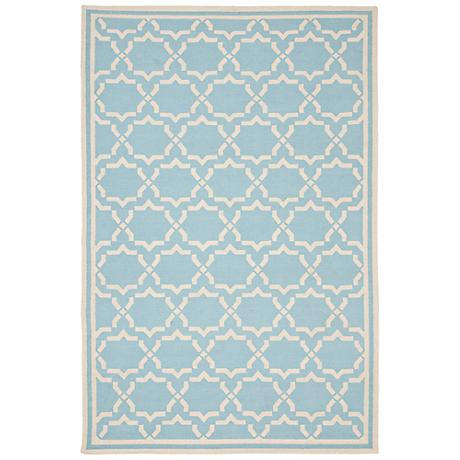 Safavieh Dhurrie DHU545B Light Blue/Ivory Wool Rug