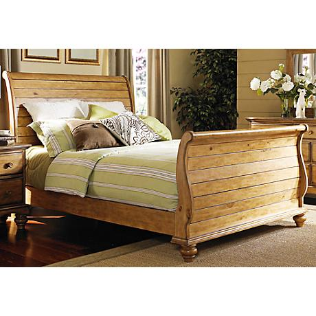 Hillsdale Hamptons Weathered Pine Sleigh Bed