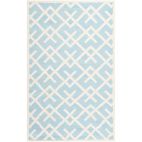 Safavieh Dhurrie DHU552B Light Blue/Ivory Wool